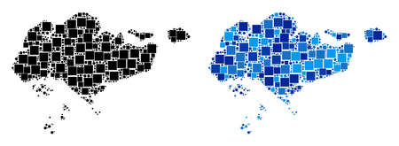 Dotted Singapore map variants. Abstract geographic map variant done with blue color tinges. Vector collage of Singapore map composed with randomized square and spheric items. Illusztráció