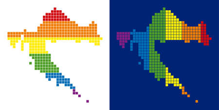 Dotted LGBT Croatia map variants. Vector geographic plans in rainbow colors with vertical and horizontal directions on white and blue backgrounds.