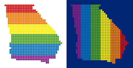 Dot LGBT American State Georgia map variants. Vector geographic maps in LGBT rainbow colors with vertical and horizontal directions on white and blue backgrounds.