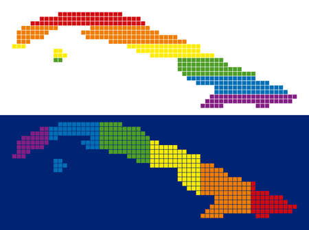 Dotted LGBT Cuba map variants. Vector geographic plans in LGBT rainbow colors with vertical and horizontal directions on white and blue backgrounds.