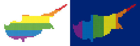 Dotted LGBT Cyprus Island map variants. Vector geographic maps in spectrum colors with vertical and horizontal directions on white and blue backgrounds.