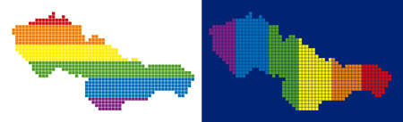 Dotted LGBT Czechoslovakia map versions. Vector geographic schemes in rainbow colors with vertical and horizontal directions on white and blue backgrounds.