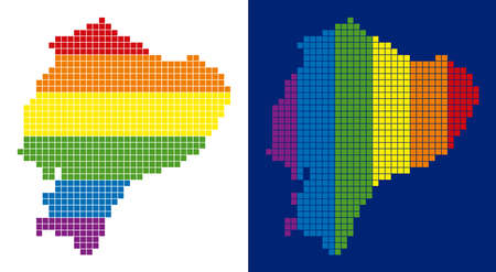 Dot LGBT Ecuador map versions. Vector geographic plans in LGBT rainbow colors with vertical and horizontal directions on white and blue backgrounds.