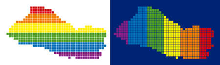 Dot LGBT El Salvador map versions. Vector geographic schemes in spectrum colors with vertical and horizontal directions on white and blue backgrounds. Ilustração