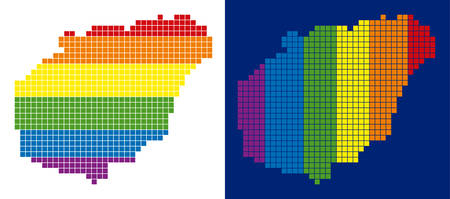 Dot LGBT Hainan Island map variants. Vector geographic plans in spectrum colors with vertical and horizontal directions on white and blue backgrounds.
