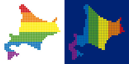 Dotted LGBT Hokkaido Island map versions. Vector geographic schemes in rainbow colors with vertical and horizontal directions on white and blue backgrounds. Illustration