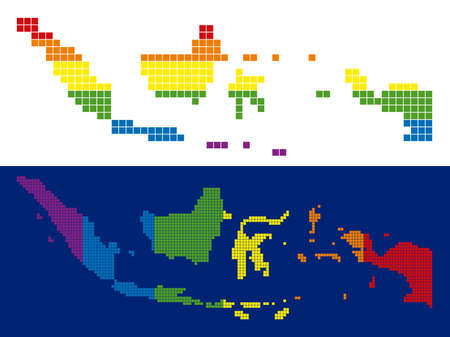 Dotted LGBT Indonesia map versions. Vector geographic maps in LGBT rainbow colors with vertical and horizontal directions on white and blue backgrounds.