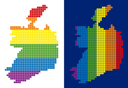 Dotted LGBT Ireland Republic map variants. Vector geographic schemes in rainbow colors with vertical and horizontal directions on white and blue backgrounds.