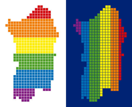 Dotted LGBT Italian Sardinia Island map variants. Vector geographic plans in spectrum colors with vertical and horizontal directions on white and blue backgrounds.