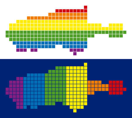 Dotted LGBT Kangaroo Island map variants. Vector geographic schemes in spectrum colors with vertical and horizontal directions on white and blue backgrounds.