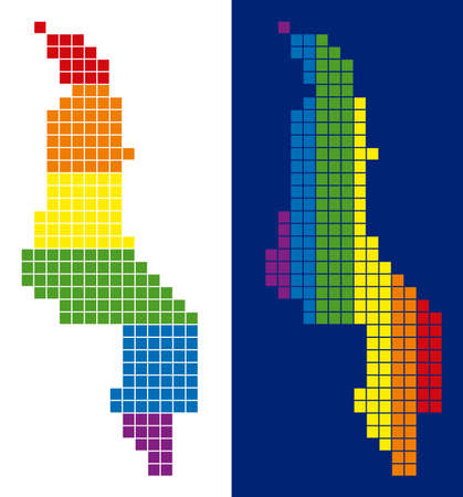Dotted LGBT Malawi map variants. Vector geographic plans in spectral colors with vertical and horizontal directions on white and blue backgrounds.