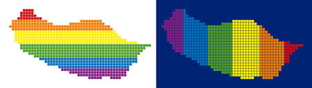 Dotted LGBT Portugal Madeira Island map variants. Vector geographic schemes in spectrum colors with vertical and horizontal directions on white and blue backgrounds. Ilustração