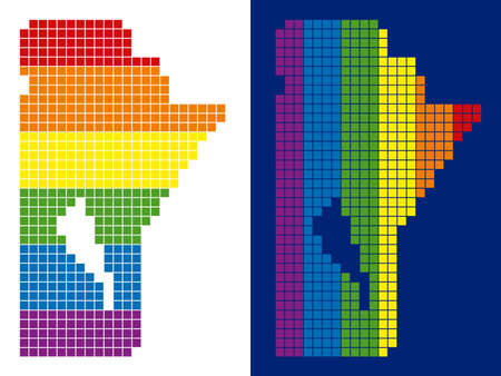 Dot LGBT Manitoba Province map versions. Vector geographic maps in LGBT rainbow colors with vertical and horizontal directions on white and blue backgrounds.