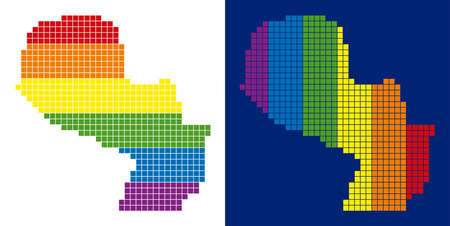 Dotted LGBT Paraguay map versions. Vector geographic plans in spectral colors with vertical and horizontal directions on white and blue backgrounds.
