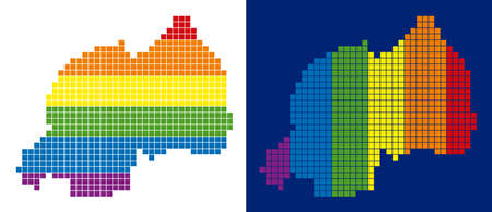 Dot LGBT Rwanda map versions. Vector geographic plans in LGBT flag colors with vertical and horizontal directions on white and blue backgrounds.