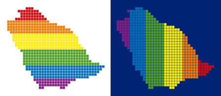 Dot LGBT Saudi Arabia map variants. Vector geographic plans in LGBT flag colors with vertical and horizontal directions on white and blue backgrounds.