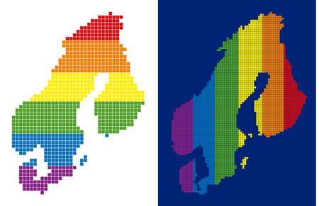 Dotted LGBT Scandinavia map versions. Vector geographic maps in spectrum colors with vertical and horizontal directions on white and blue backgrounds.  イラスト・ベクター素材