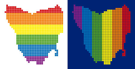 Dotted LGBT Tasmania Island map variants. Vector geographic maps in rainbow colors with vertical and horizontal directions on white and blue backgrounds.