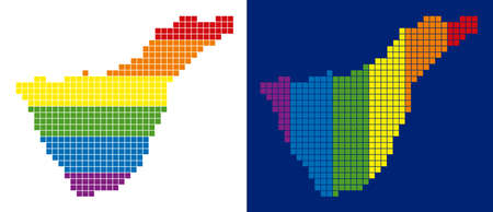 Dot LGBT Tenerife Spain Island map versions. Vector geographic schemes in rainbow colors with vertical and horizontal directions on white and blue backgrounds.