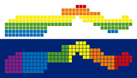 Dot LGBT the Gambia map versions. Vector geographic maps in LGBT rainbow colors with vertical and horizontal directions on white and blue backgrounds. Illustration
