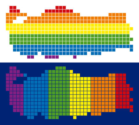 Dot LGBT Turkey map variants. Vector geographic plans in rainbow colors with vertical and horizontal directions on white and blue backgrounds. Иллюстрация