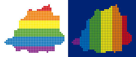 Dotted LGBT Vatican map variants. Vector geographic plans in LGBT rainbow colors with vertical and horizontal directions on white and blue backgrounds.