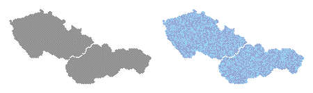 Pixelated Czechoslovakia map version. Vector territory schemes in black color and cold blue color tones. Abstract collage of Czechoslovakia map constructed from spheric dot matrix.