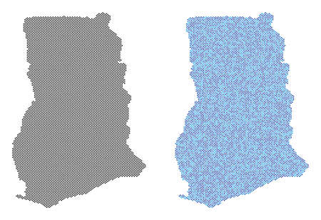 Pixelated Ghana map variants. Vector geographic schemes in black color and cold blue color hues. Abstract concept of Ghana map composed with sphere pixel array.