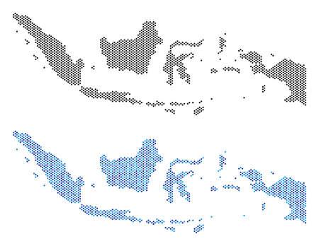 Gepunktete Indonesien Kartenvarianten. Vektor-Territorialpläne in schwarzen und blauen Farbvariationen. Abstraktes Konzept der Indonesien-Karte, zusammengesetzt aus Kreispixelmuster.