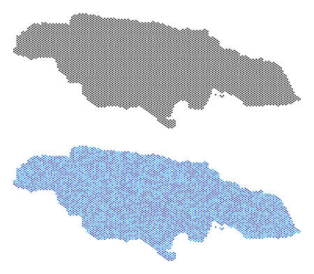 Pixel Jamaica map variants. Vector geographic plans in black color and cold blue color tints. Abstract mosaic of Jamaica map created from sphere point matrix. Illustration