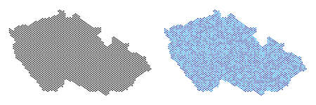 Pixel Czech map version. Vector geographic schemes in black color and blue color shades. Abstract composition of Czech map constructed from sphere element array.