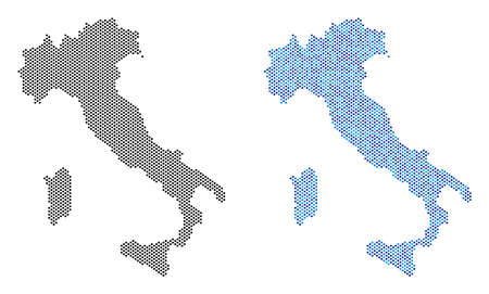 Dotted Italy map variants. Vector territorial schemes in black color and blue color shades. Abstract mosaic of Italy map done with small circle pixel array.