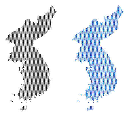 Circle dot North and South Korea map variants. Vector territorial plans in black color and blue color tints. Abstract mosaic of North and South Korea map designed from circle pixel matrix.