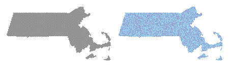 Round point Massachusetts State map version. Vector territorial plans in black color and blue color tones. Abstract concept of Massachusetts State map constructed with spheric point pattern.
