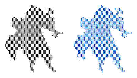 Pixel Peloponnese Peninsula map variants. Vector territorial plans in black color and blue color tints. Abstract concept of Peloponnese Peninsula map composed from sphere item pattern. Illustration