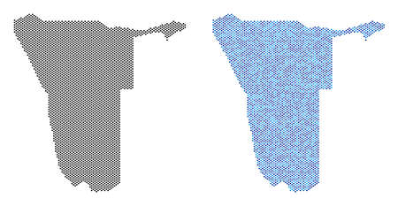 Pixelated Namibia map variants. Vector territory schemes in black color and cold blue color hues. Abstract collage of Namibia map done from circle item pattern.