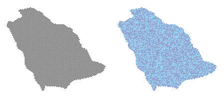Pixel Saudi Arabia map version. Vector territory plans in black color and cold blue color variations. Abstract collage of Saudi Arabia map constructed from sphere dot array.