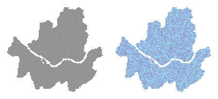 Dotted Seoul city map version. Vector territory plans in black color and blue color tints. Abstract mosaic of Seoul city map done from small circle pixel pattern. Illustration