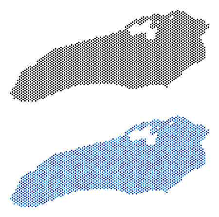 Pixel Ontario Lake map version. Vector territorial schemes in black color and blue color variations. Abstract concept of Ontario Lake map created with circle element array.