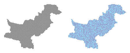 Dot Pakistan map version. Vector geographic schemes in black color and cold blue color shades. Abstract collage of Pakistan map composed with spheric point array.