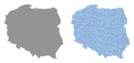 Round point Poland map variants. Vector geographic schemes in black color and cold blue color hues. Abstract composition of Poland map composed with spheric point matrix.