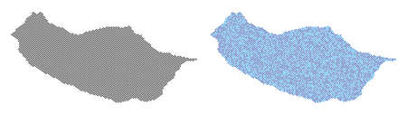 Pixel Portugal Madeira Island map variants. Vector territorial plans in black color and blue color tones. Abstract mosaic of Portugal Madeira Island map constructed with round dot array.