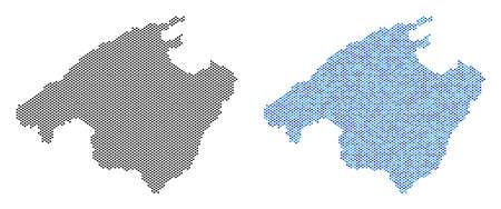 Dotted Spain Mallorca Island map variants. Vector geographic schemes in black color and blue color tinges. Abstract composition of Spain Mallorca Island map done from small circle dot array.  イラスト・ベクター素材