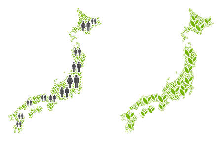 People population and environment Japan map. Vector collage of Japan map done of scattered people couple and grass items in various sizes. Abstract social representation of nation public cartography.