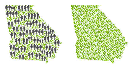 People population and eco American State Georgia map. Vector pattern of American State Georgia map organized of randomized crowd and plantation items in different sizes.