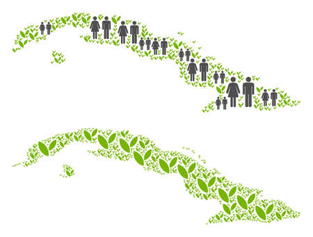 People population and green plants Cuba map. Vector mosaic of Cuba map composed of randomized family and sprout items in variable sizes. Abstract social representation of nation audience cartography.