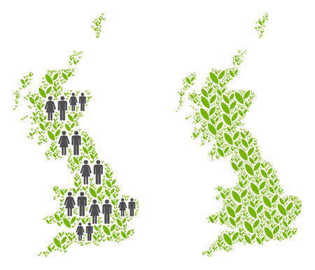 People population and environment Great Britain map. Vector pattern of Great Britain map organized of scattered person and plantation elements in various sizes. Illustration