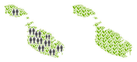 People population and green plants Malta Island map. Vector abstraction of Malta Island map made of scattered man and woman and plant items in different sizes.