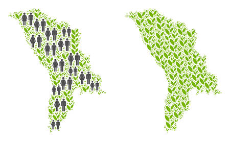 People population and environment Moldova map. Vector pattern of Moldova map designed of scattered crowd and plantation elements in different sizes.