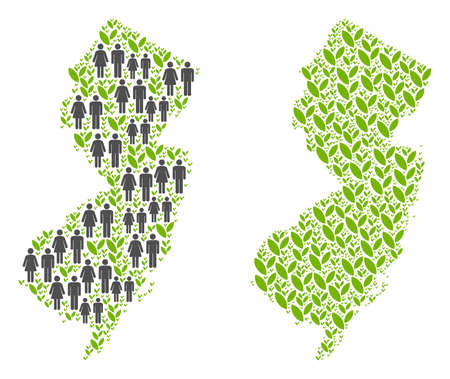 People population and grass New Jersey State map. Vector pattern of New Jersey State map made of random male and female and grass elements in various sizes.